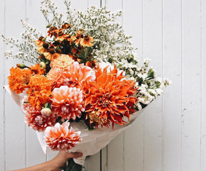 flowers, orange, and bouquet image