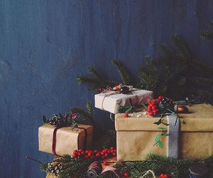 berries, blue, and christmas image
