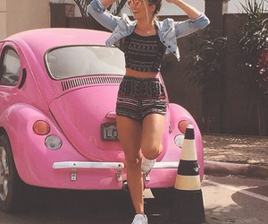 pink, car, and girl image