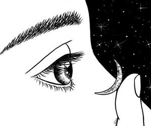 moon, eyes, and art image