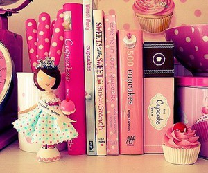 book, pink, and cupcake image
