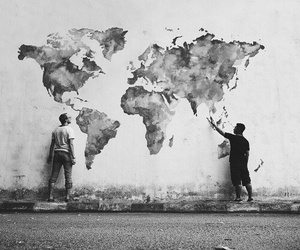 world, art, and black and white image