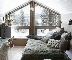 bedroom, comfortable, and snow image