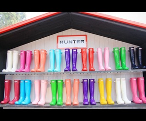 colorful, pretty, and hunter boots image