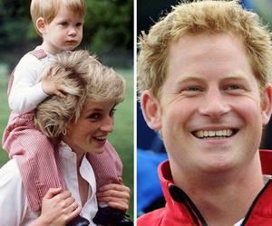 prince harry, princess diana, and royal family image