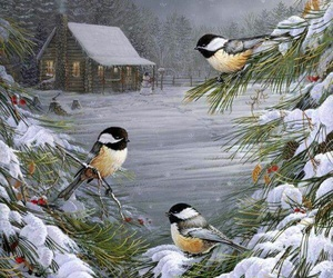 birds, painting, and snow image