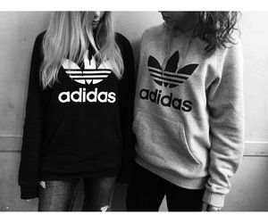 adidas, best friend, and black and withe image
