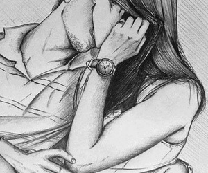 couple, pencil, and cute image
