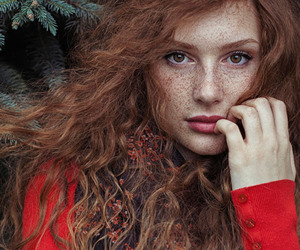 model, beauty, and freckles image