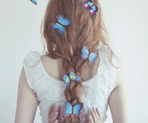 butterfly, photography, and woman image