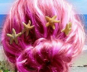 hair, pink, and mermaid image