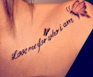 love, tattoo, and butterfly image