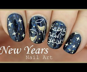 champagne, nail art, and cute nails image