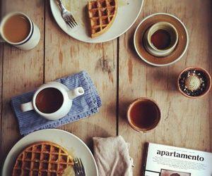 breakfast, coffee, and waffles image
