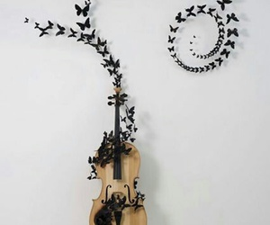 butterfly, music, and violin image