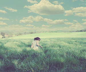 girl, nature, and field image