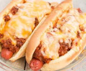 food, cheese, and hot dog image