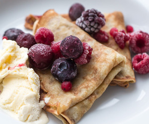 food, berries, and pancakes image