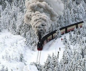 snow, train, and winter image