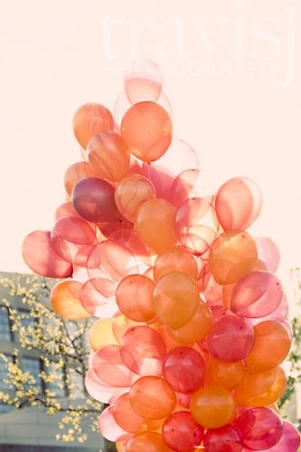 balloons, orange, and pink image
