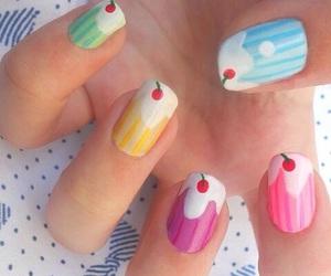nails, nail art, and cupcake image