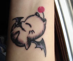 final fantasy, tattoo, and moogle image
