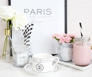 chanel, white, and flowers image