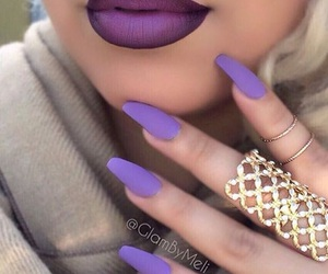 nails, purple, and lipstick image