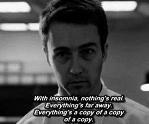 insomnia, fight club, and black and white image