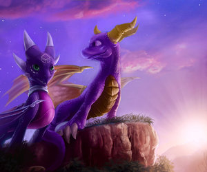 clouds, purple, and spyro the dragon image