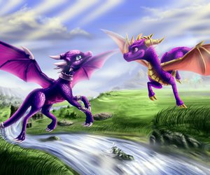 Flying, sky, and spyro the dragon image