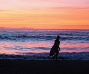 beach, california, and surfing image