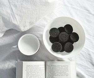 book, oreo, and milk image