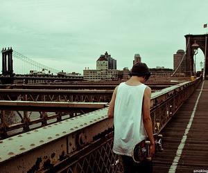 boy, skate, and bridge image