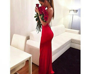 dress, red, and roses image