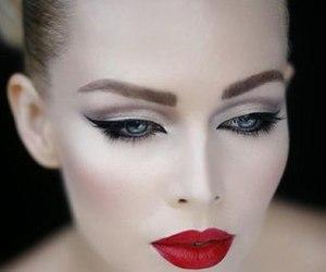makeup, make up, and red lips image