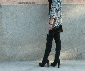 alternative, black and white, and black boots image