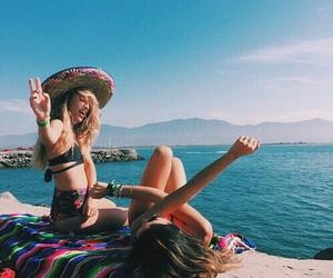 beach, girls, and summer image