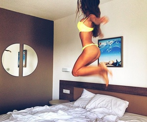 fitness, girl, and bed image
