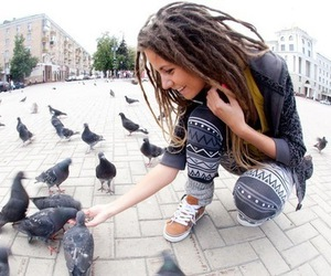 dreads, girl, and birds image