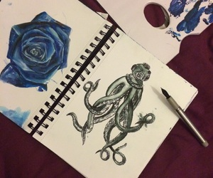 art, ink, and blue image
