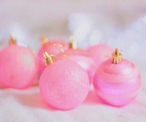 pink, christmas, and ornaments image