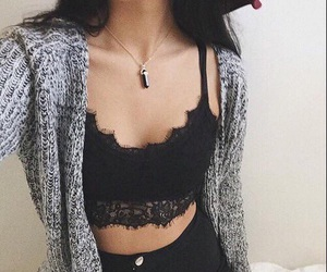 black, sweater, and ootd image