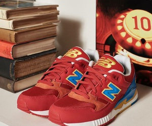 books, red, and new balance image
