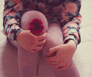 girl, flowers, and photo image