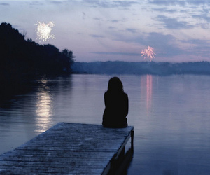 girl, fireworks, and alone image
