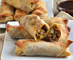 food and egg rolls image