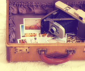 camera, photography, and suitcase image