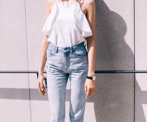 style, white, and jeans image