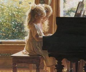 little girls, music, and painting image